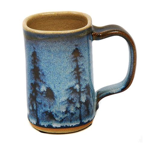 Handmade Mugs Pottery - handmade minnesota pottery mug with pinetrees