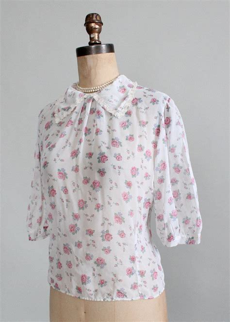 White Sweet Flowery M L Xl Blouse 31693 vintage 1950s sheer floral sweetheart blouse raleigh vintage