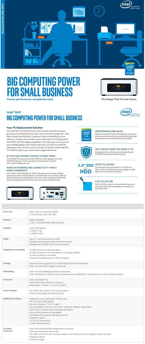 Intel Nuc5cpyh Celeron N3050 240gb Ssd 2gb Ddr3 Mini Pc intel nuc5cpyh nuc barebone kit celeron n3050 ebay