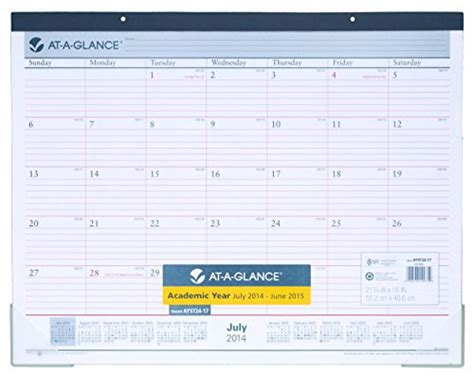 academic year desk calendar at a glance 2014 2015 academic year monthly desk pad