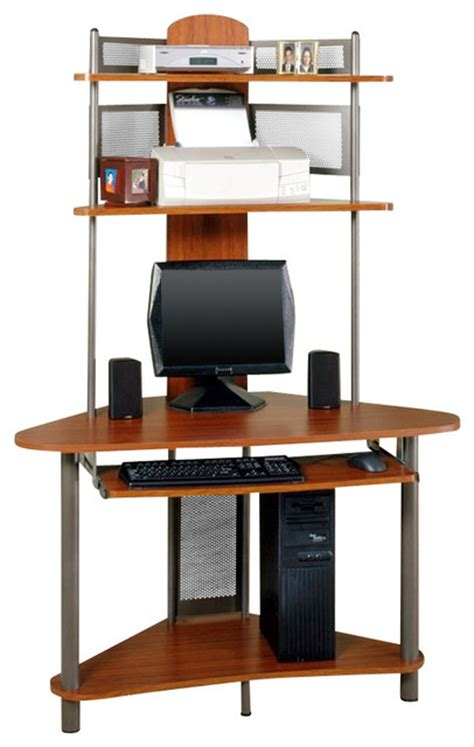 tower corner computer desk with hutch studio rta a tower corner wood computer desk with hutch in
