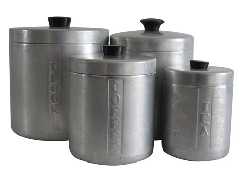 kitchen canisters set of 4 mid century aluminum kitchen canisters set of 4 chairish