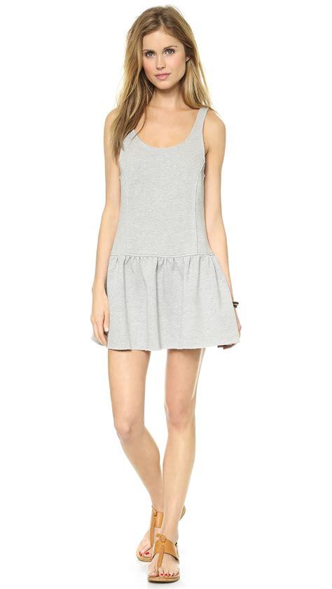 Zarazephyros Grey Dropped Waist Dress terry drop waist tank dress grey in gray grey lyst