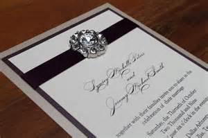 glamorous wedding invitation luxurious glitz bling eggplant and