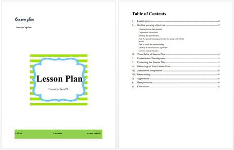 microsoft lesson plan template lesson plan template microsoft word templates
