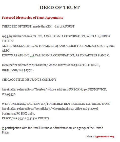 deed of agreement template trust documents template free printable documents