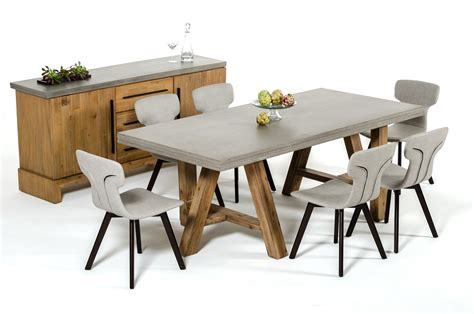 7 piece dining set with bench modrest civic modern concrete acacia 7 piece dining