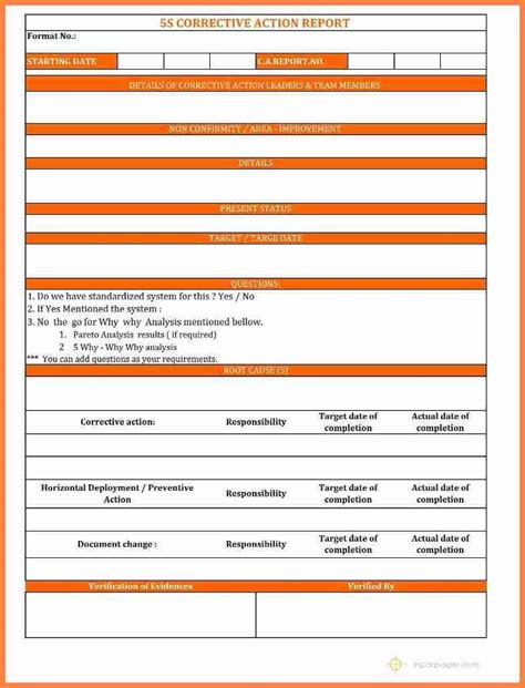 corrective report template form corrective report template template design