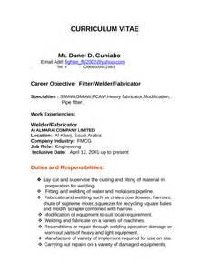 Welding Responsibilities by Professional Welder Fabricator Resume Template