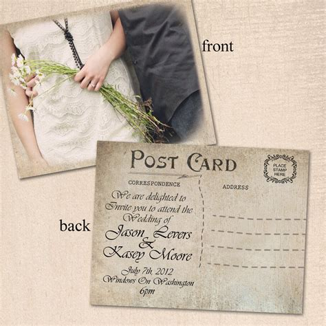 how to save on postage for wedding invitations vintage wedding invitation post card by curlygurlycouture