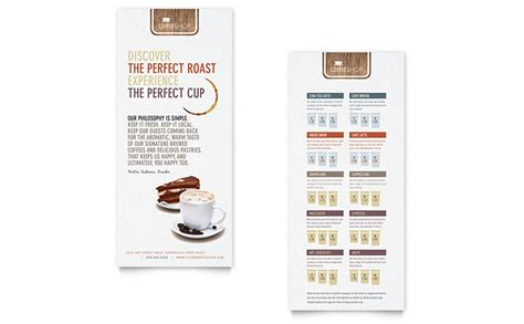 coffee shop rack card template word publisher