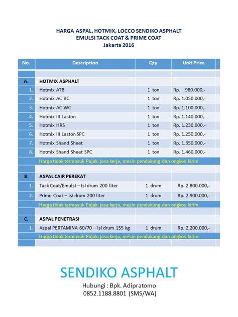Daftar Ukuran Berat Roller sendiko asphalt jakarta juni 2013