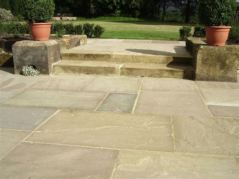 indian sandstone patio paving raj green grey autumn brown