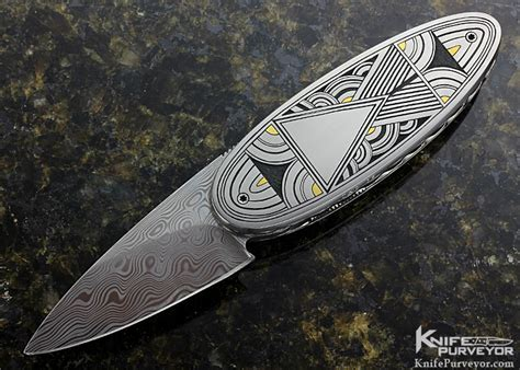 kelly carlson custom knife tim george engraved icicle linerlock tim george engraved kelly carlson quot small ellipse