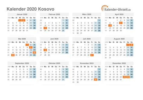 feiertage  kosovo kalender uebersicht