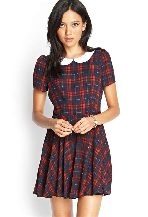 Plaid Collared Dress forever 21 plaid pan collar dress in blue navy