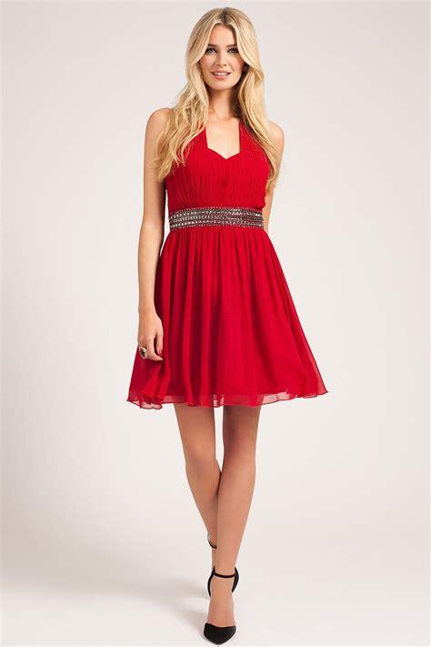 mistress red embellished waist halter neck dress