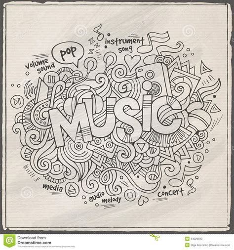 doodle less pool musicas lettering and doodles elements stock vector