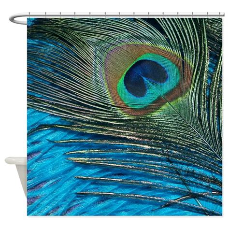 purple and teal peacock shower curtain by christyoliver