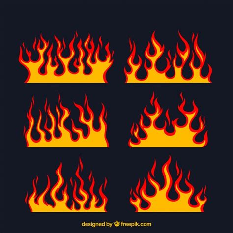 fire pattern font assortment of flat flames with different designs vector