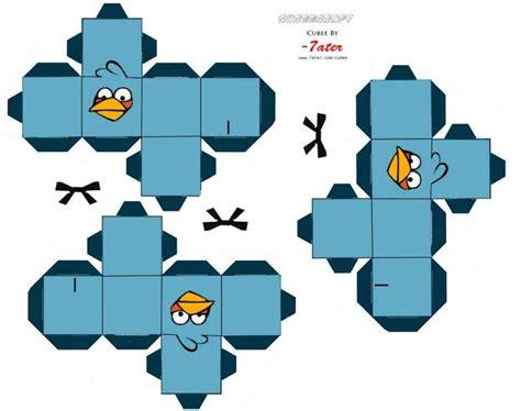 Bird Papercraft - blue birds cutouts angry birds papercraft