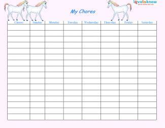 theme list for students printable chore lists lovetoknow