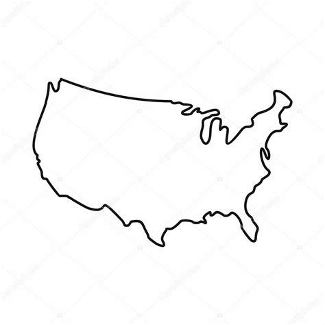 outline map of usa 2 ic 244 ne de carte usa style de contour image vectorielle