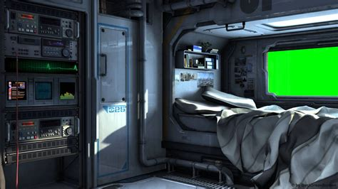 Spaceship Bedroom | scifi spaceship bedroom with green screen movie