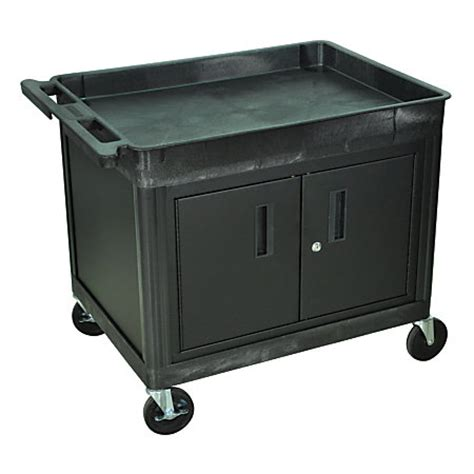 luxor cart with locking cabinet luxor tc series utility cart with locking cabinet 2 shelf