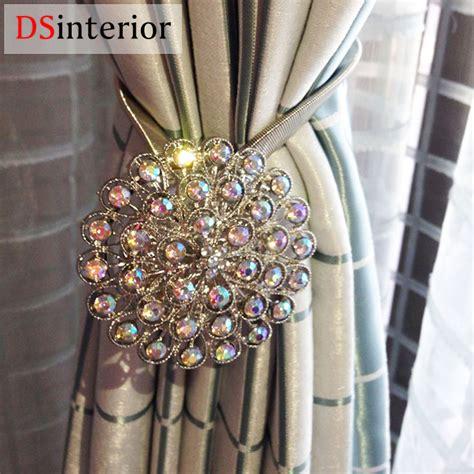 Dsinterior 1pc magnetic curtain tie backs crystal flower magnetic holdbacks retractable window