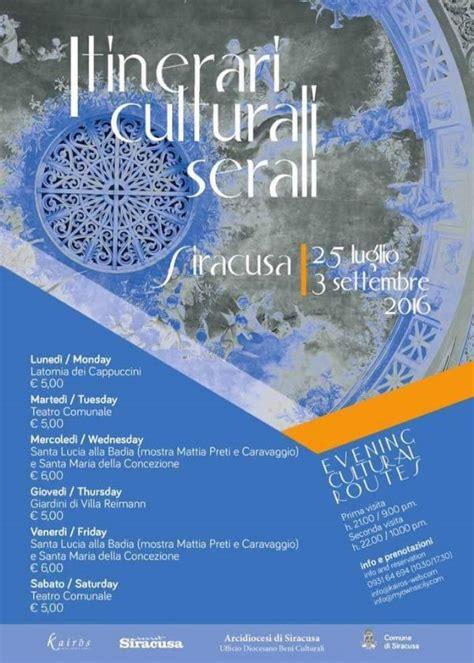 ufficio turismo siracusa eventi a siracusa itinerari culturali serali siracusa