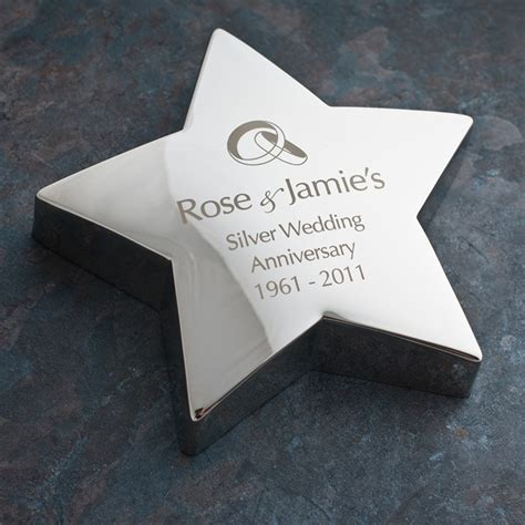 Engraved Wedding Silver Star Paperweight   Engraved Gifts