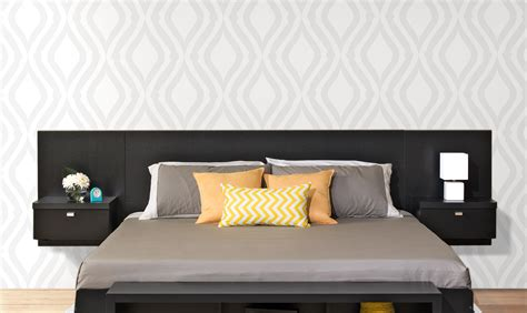 Floating Headboard King Series 9 Designer Floating King Headboard With Nightstands By Prepac