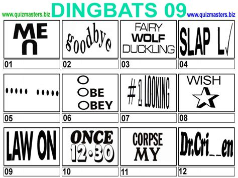 quiz questions dingbats dingbats