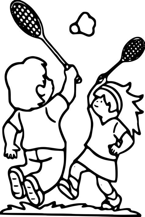 Coloriage Enfant Sport Badminton