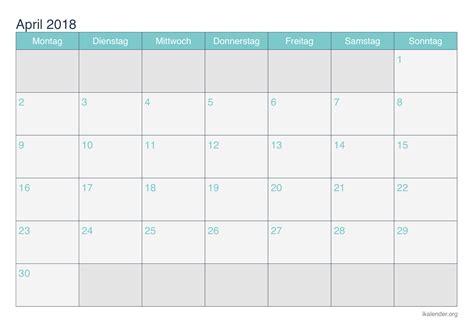 Kalender 2018 April Mai Kalender April 2018 Zum Ausdrucken Ikalender Org