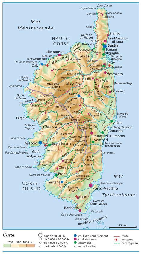 Carte De by Carte De La Corse Corse Cartes Des Villes Reliefs