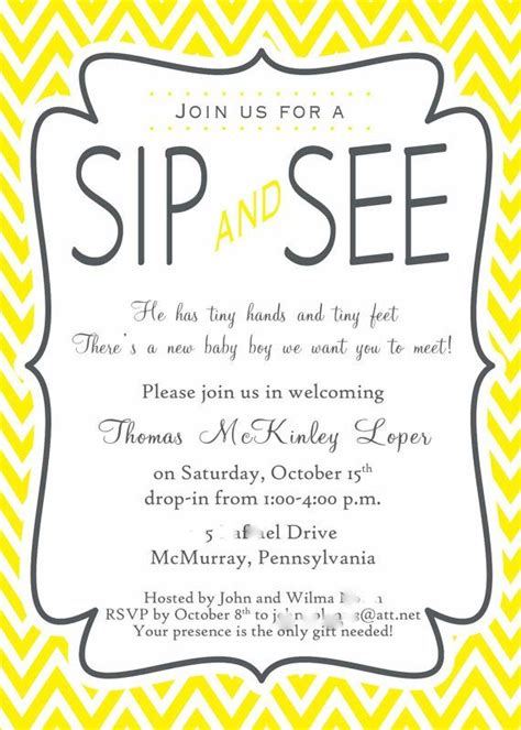Sip And See Invitation Wording Sip See Shower Party Ideas Pinterest Sip And See Invitation Templates