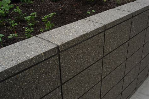 Concrete Blocks For Garden Walls Honed Grey Coloured Masonry Retaining Wall Sealed In A