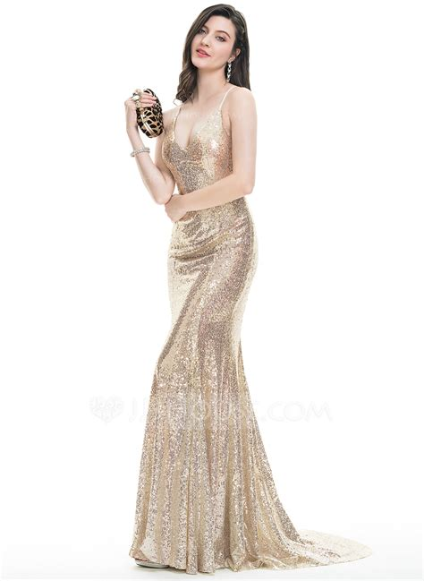 Sequined Prom Dress trumpet mermaid v neck sweep sequined prom dresses