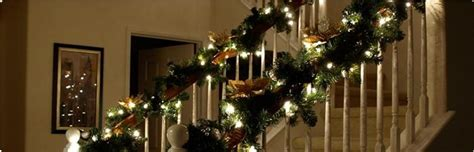 christmas lights for stair banisters christmas decorations for your stair case by xmasdirect