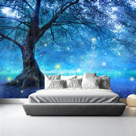 Mystical Fairy Tree Blue Enchanted Forest Kids Wall Mural