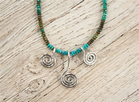Spiral Silver Necklaces prasada jewelry silver spiral necklace w faceted turquoise