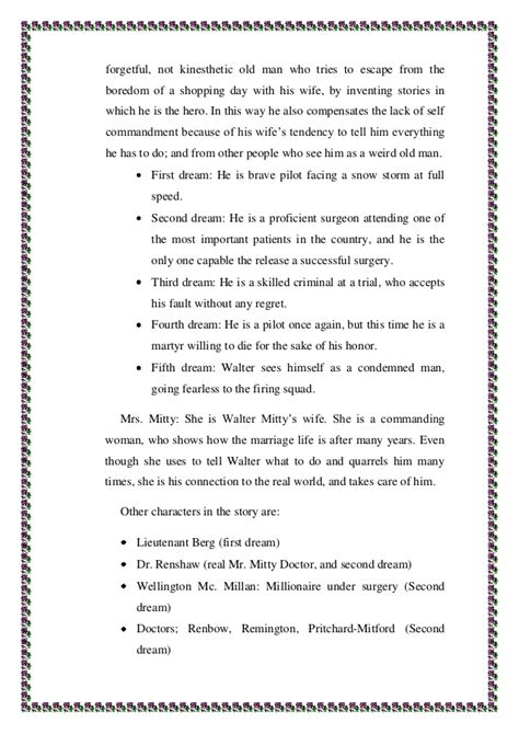 Thurber Essay by Walter Mitty Essay Walter Mitty Essay The Secret Of