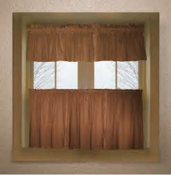 Kitchen Curtain Valance Copper Brown Color Tier Kitchen Curtain Two Panel Set