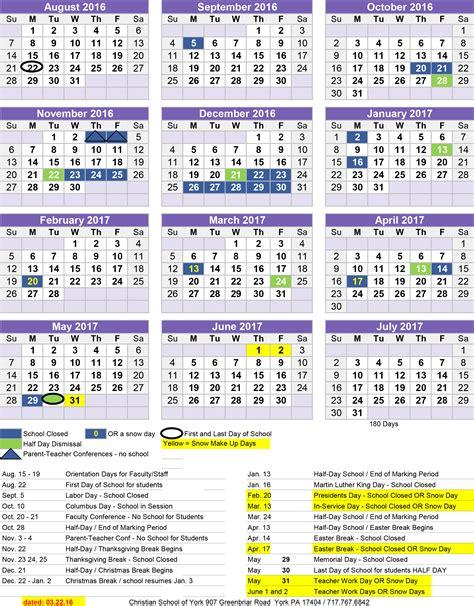 Religious Calendar 2016 2017 School Calendar Christian School Of York