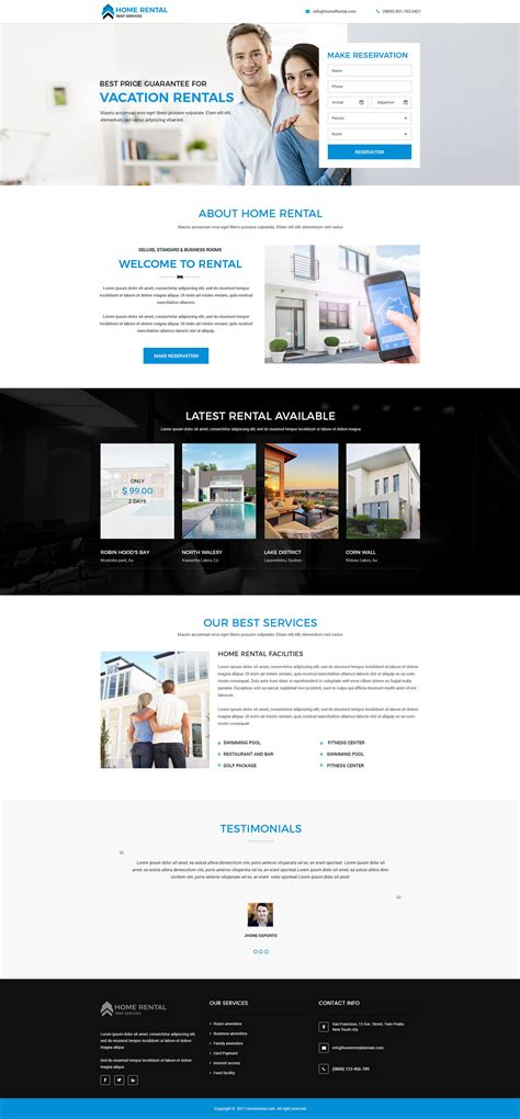 home rental html website template landing page design