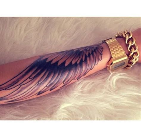 tattoo angel wings on arm wings arm sleeve angel gold watch rozaap tattoo