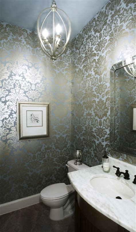 black and silver bathroom wallpaper blue metallic wallpaper design ideas