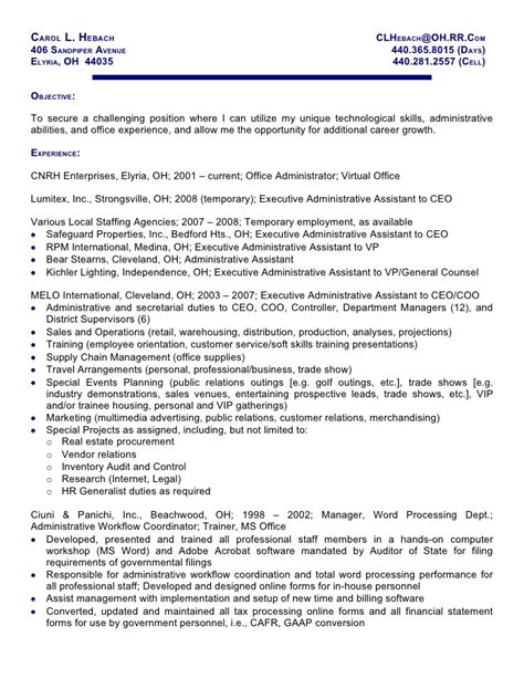 Sle Personal Information On Resume sle resume of personal assistant 28 images economic